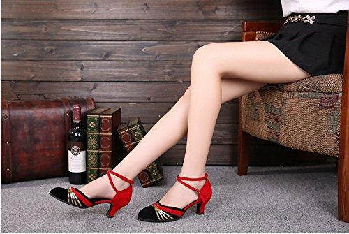 TMKOO& latino scarpe estivi donna scarpe nuove adulto amicizia ballo inferiore molle scarpe da ballo scarpe moderne quadrati ( Color : Rosso , Dimensione : 41 ) Rosso