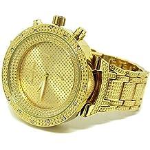 Bling MRSTER Elegante Chapado En Oro circonita Metal Correa HipHop Reloj
