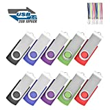 EASTBULL USB 2.0 Flash Drives Memory Stick Fold Storage 10 Pcs (With Lanyard)…