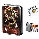 Métal Boîte à Cigarettes Etui pour 16 Cigarettes avec Briquet USB Électronique Rechargeable Sans Flamme Epreuve du Vent Portable Momme Femmes