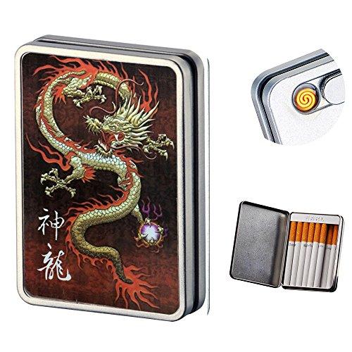 Pantheraa USB encendedor de cigarrillos caso Caja de cigarrillos electrónicos sin llama batería resistente al viento encendedores puede Hold 16cigarrillos humo, Dragon usb lighter