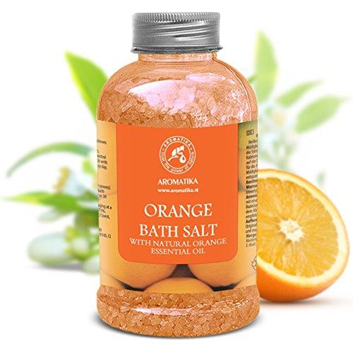Badesalz Orange - Meersalz Mit 100% Natürlichem Ätherischen Orangenöl - Badesalz Natur Am Besten Für Guten Schlaf - Stressabbau - Beauty - Baden - Körperpflege - Wellness - Schönheit - Entspannung - Aromatherapie - Spa - Badezusatz - 1er Pack (1 X 600g) -