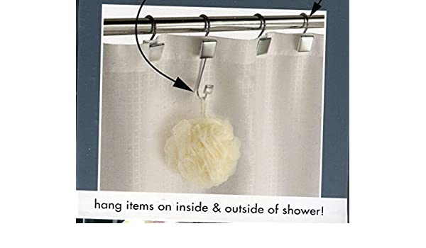 12 Shower Curtain Rings 2 Hanging Hooks Hang Items Inside Outside Amazoncouk Kitchen Home