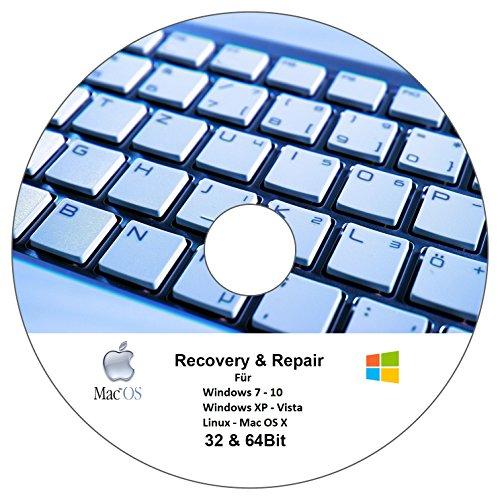 Recovery und Repair CD Für Windows 7 - Windows 8 - Windows 10 32 & 64 Bit Version - Dattenrettung und Reparatur CD - NOTFALL CD für Windows und Linux
