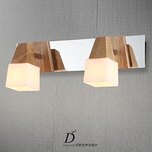 BOOTU LED Wandleuchte nach oben und unten Wandleuchten Aus Massivholz eiche Kopfteil aus Holz design hotel Schminktisch Küche Schlafzimmer Wandleuchten, drei Kopf -