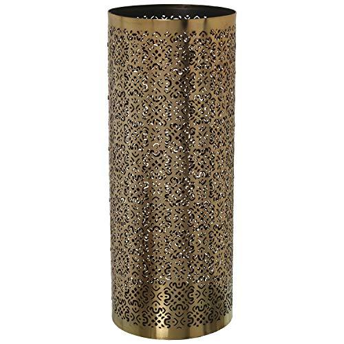 DRW Paragüero Circular Metal Calado Dorado Negro