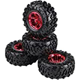 4pcs 1:10 RC Climbing Car Truck Tires Wheels with Hubs for HSP HPI Tamiya TRAXXAS (#- Red)