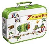 Schmidt Spiele 55584 - Raupe Nimmersatt, Puzzle-Box 2x 26, 2x 48 Teile im Metallkoffer