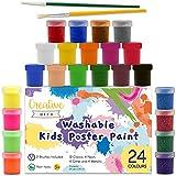 Creative Deco Tempere Colori Pittura Lavabile a Dita Set Bambini | 24 x 20 ml Bottiglie Multicolore | Colori Base Fluorescente Glitter Metallizzati Neon | Perfetto per Principianti Studenti Artisti