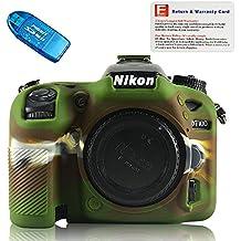First2savvv XJPT-D7200GJ-06G10 verde cuerpo completo caucho de TPU funda estuche para cámara para Nikon D7100 D7200 + Lector de tarjetas SD