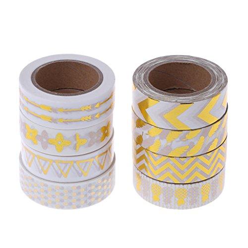 Yaonow Dekoratives Washi-Tape Scrapbooking-Werkzeug Fotoalbumdekoration, Weiß und Gold