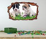 3D Wandtattoo Hunde französische Bulldoggen Baby Hund Welpen Bild selbstklebend Wandbild sticker Wand Aufkleber 11F595, Wandbild Größe F:ca. 162cmx97cm