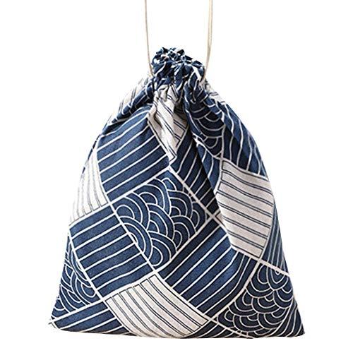 boastvi Aufbewahrungstasche Kordelzug Reisetasche Baumwolle Und Leinen Gedruckt Lunchpaket Süßigkeiten Geschenktüte Große Kapazität String Rucksack Für Fitness & Workout Ausrüstung