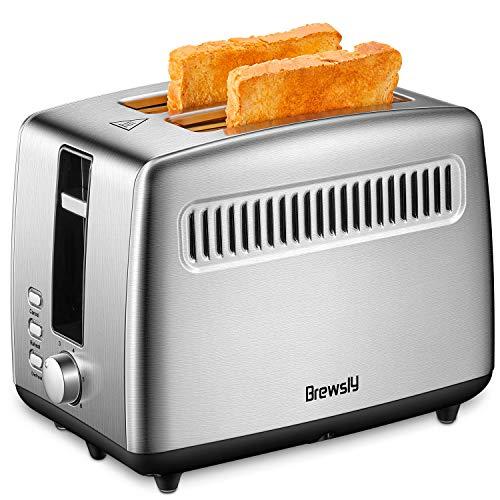 Toaster Brewsly 2 Scheiben Toaster Ultra breiter Schlitz (4.5cm), mit Auftaufunktion, Aufwärmfunktion, Herausziehbare Krümelschublade, Edelstahl mit Lebensmittelqualität, 850W, Silber