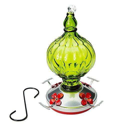 Kolibri Feeder mit Sitzstange-- Schönes mundgeblasen Glas Anleger   Bird Lovers   20Unzen von Nektar   Tolle Bewertungen   von Best Home Produkte Green - Pear Petals -