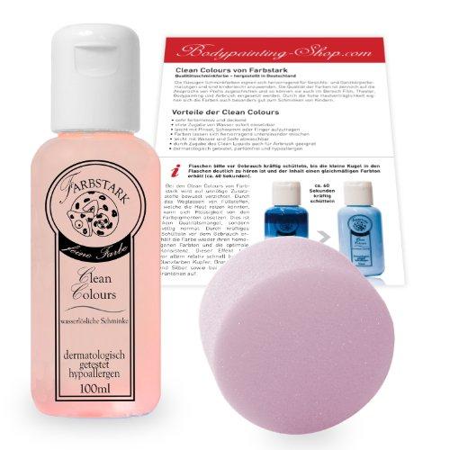 (15,95 €/100 ml) Farbstark Bodypainting Farben - hautfreundliche Körperfarbe in Profi Qualität (auch für Airbrush geeignet), Set: 100 ml Farbe + Schminkschwamm (Rosa)