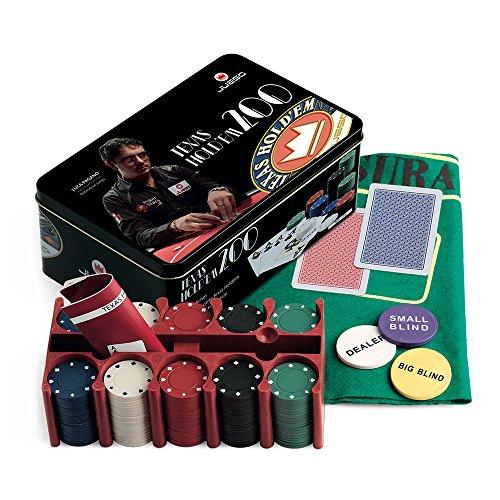 Juego Ju00027 Texas Hold'em Poker Set inkl. Pokerkarten Kartenspiel + 200 Poker Chips + Pokerteppich - Mehrfarbig