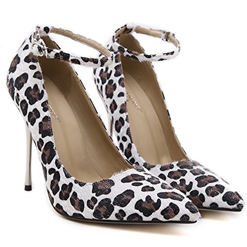 Oasap Damen Spitz Leopard High Heels Pumps Black