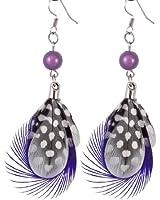 Ladies Dark Purple Faux Feather Plastic Beads Hook Earrings