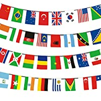 ‏‪Echolife 200 Countries International String Flag Bunting Banner 164ft World Cup Flag Banners for Bar Sports Party Decorations (200 Countries Flag)‬‏