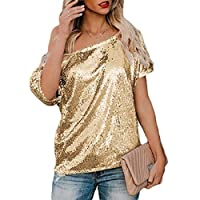 WSPLYSPJY Women Sequin Tops Glitter Tunic Loose Short Sleeve T-Shirt Blouses Cocktail Party Golden XS
