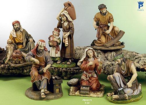 Set 6 personaggi presepe 22 cm in resina by paben