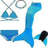 UniDesign Meerjungfrau Flosse Zum Schwimmen Meerjungfrau Schwanz mit Flosse mit Bikini für Kinder Mädchen, 7-8 Jahre, Blauer Diamant