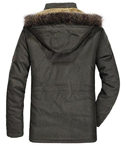 Herren Wärmejacke Parka Jacke Winterjacke Kapuze Übergangsjacke Kapuzenparka Jacket Mantel Wintermantel Mens Winter Coat Gefüttert Khaki