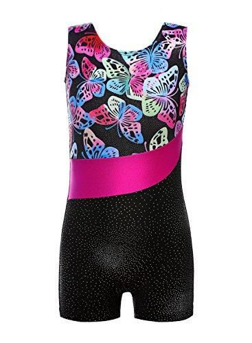 DAXIANG Mädchen Leuchtender Bunter Bedruckter Ärmelloser Tank Gymnastikanzug für Gymnastik Tanzen Ballett Costume (Butterfly, 140(8-9Y)) (Unitard Bunte)