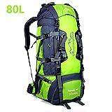 80 litri Zaini da escursionismo, ideale per lo sport all'aperto, trekking, viaggi di campeggio, montagna. Borsa per alpinismo impermeabile, Daypack da arrampicata da viaggio,Zaino(80L, 80L Verde)