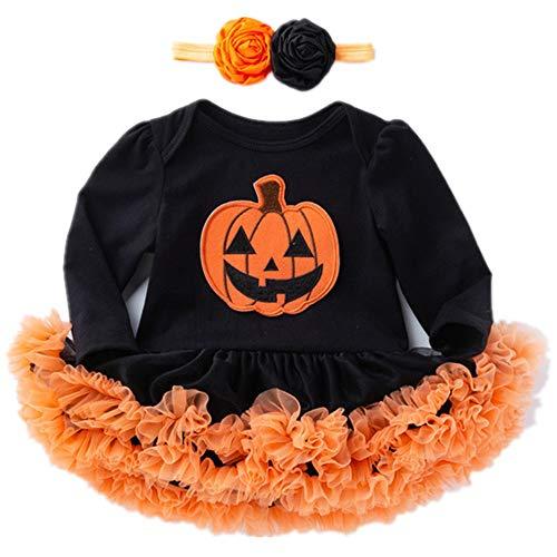 VENIMASEE Baby Mädchen Halloween Outfit Kostüm Kürbis Strampler -