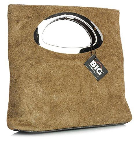Big Handbag Shop, pochette da donna, da sera, in pelle scamosciata, tinta unita, con manico Medium Tan (BH464)