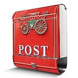 BANJADO Edelstahl Briefkasten mit Zeitungsfach, Design Motivbriefkasten, Briefkasten 38x43,5x12,5cm groß Motiv Postkasten Nostalgie