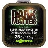 Korda Dark Matter Tungsten Coated Braid 10m - Vorfachschnur zum Karpfenangeln, Vorfachmaterial für Karpfenmontagen, Karpfenschnur, Farbe:Weed (Grün), Tragkraft:25lbs/11.3kg