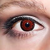 KwikSibs farbige rote Kontaktlinsen Dämonenaugen 1 Paar (= 2 Linsen) weiche Funlinsen inklusive Behälter, K538 (Stärke / Dioptrie: 0 (ohne))