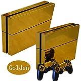 Ps4 Playstation 4 Consola Design Foils Sticker Decal Pegatinas + 2 Controlador Skins Set (Gold Glossy)