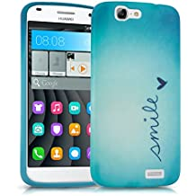 kwmobile Funda para Huawei Ascend G7 - Case para móvil en TPU silicona - Cover trasero Diseño Smile en azul turquesa