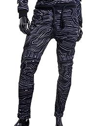 Pantalones para hombre de la sexta junio blancas negras líneas de contorno del patrón de deporte S-XL