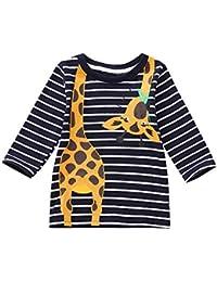 ZODOF Top de Manga Larga para niños con Rayas Jirafa Camiseta Estampada a Rayas con Estampado de Jirafa y Estampado a Rayas para niños de niños pequeños para niños