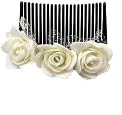 Sanjog Vintage Style Foam White/Creamy Flower Comb Clip for Women