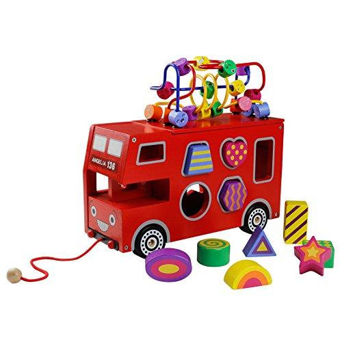 Akokie Roter Bus Spielzeug Modell, Bus Holz Form Sorter, Holzformen Geometrisch für Kinder im Alter von 3 4 5 6