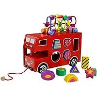 Autobús de Madera, Autobús de Juguete Tracción Coche Niños Rojo Camion Recuerdos De Madera Regalo de Navidad para Niños 3 4 5 6