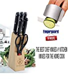 Everything Imported 7-Piece Pcs Best Kitchen Knife Set With Wooden Block Stand Chef'S Carver Boning Utility Pairing Knives And Scissors