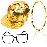 Beelittle 80 / 90er Jahre Rapper Hip Hop Kostüm Zubehör Set einstellbare Feste Flache Krempe Snapback Baseballmütze, Rapper DJ Sonnenbrillen und vergoldete Kette (A)