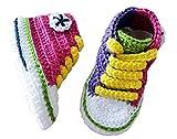 Patucos bebé converse hecho a mano 100% algodón, 9-12 meses, Multicolor Crazy Girl