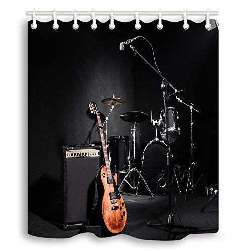 Y&M HOME Musik Dusche Vorhänge Set, Musikinstrumente Gitarre mit Trommel in Schwarz Wasserdicht Stoff Vorhang für die Dusche, 177,8x 177,8cm