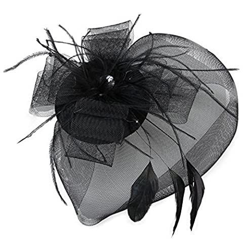 Gleader Black Feather Veil Hair Clip Mini Top Hat Party Cosplay by Gleader