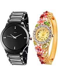 Kitcone Jewellery Bracelet Style Gold Plated Belt Women's Watch Men's Watch -Type-97(PACK OF 2)