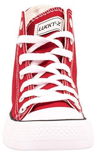 Elara Unisex Sneaker | Sportschuhe für Herren Damen | High Top Turnschuh Textil Schuhe 36-47 Rot