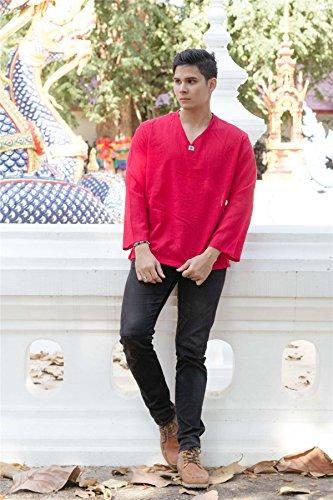 Lofbaz T-Shirt Uomo collo a V 100% Cotone Tailandese con Top Spiaggia Long Sleeve Rosso